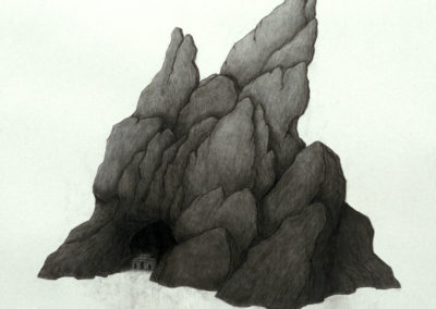 Between the Rocks, Building Secrets by Akane Takayama, contemproary fine art drawing in charcoal.