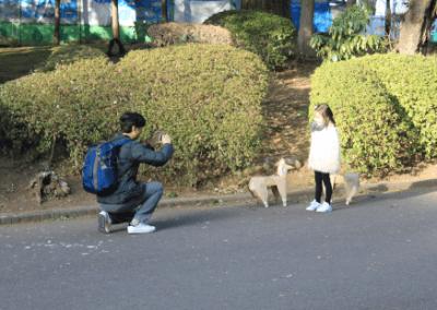 DOG and girl photo Ueno Park