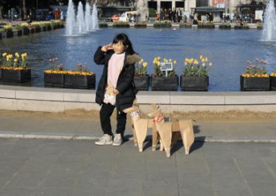 DOG and girl selfie Ueno Park