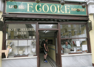 DOG loves F Cooke pie and mash
