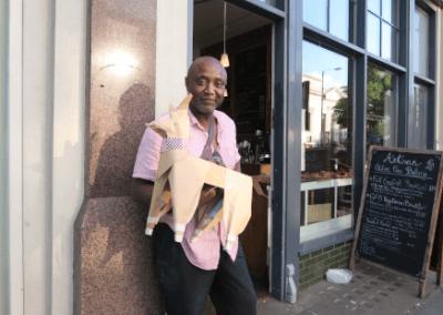 DOG man near cafe