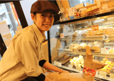DOG with Musashi Koyama cake shop girl