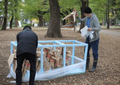 Akane Takayama's team prepare to mount the DOG Tokyo 2017 installation