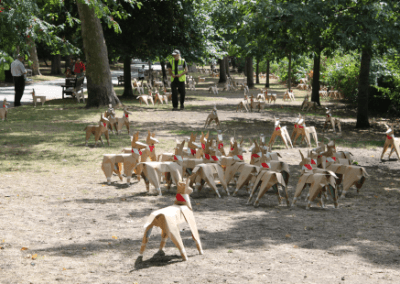 DOG sculptures in public park
